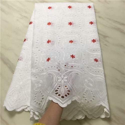 Swiss Voile Laces Switzerland Cotton African Dry Cotton Lace Fabric White Hollow Out Nigerian Voile Lace 5Yards PS (red)