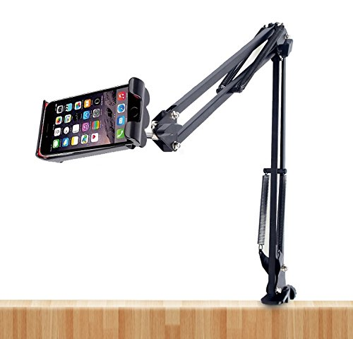 4' Arms (Desk,Bed,Kitchen Clamp Mount Suspension Boom Scissor Arm Stand Holder for 3.5-7'' inch Cell phone (Vertical fixed))