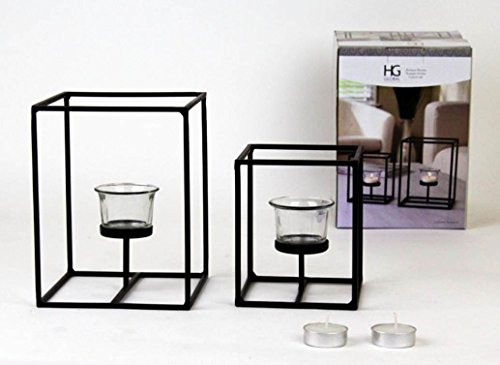 Hosley s Set of 2 Candleholders with Clear Votive Glass, Lantern Tealight Holders. Includes Free ...