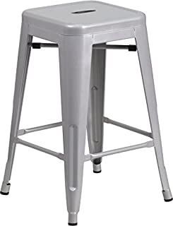 Flash Furniture 24u0027u0027 High Backless Silver Metal Indoor-Outdoor Counter Height Stool with  sc 1 st  Amazon.com & Amazon.com: Tabouret 24-inch Metal Counter Stools (Set of 2 ... islam-shia.org