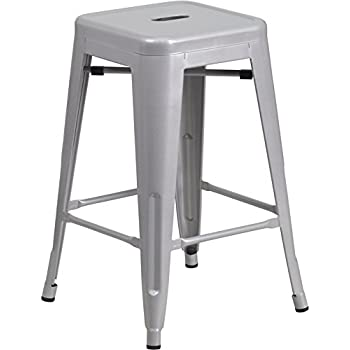 Flash Furniture 24u0027u0027 High Backless Silver Metal Indoor-Outdoor Counter Height Stool with  sc 1 st  Amazon.com & Amazon.com: Furmax 24u0027u0027 High Metal Stools Backless Silver Metal ... islam-shia.org