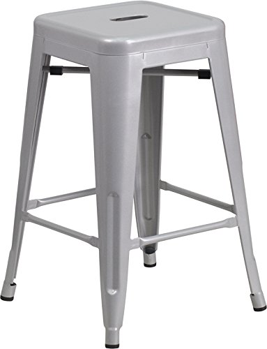 Metal Counter Stool in Silver