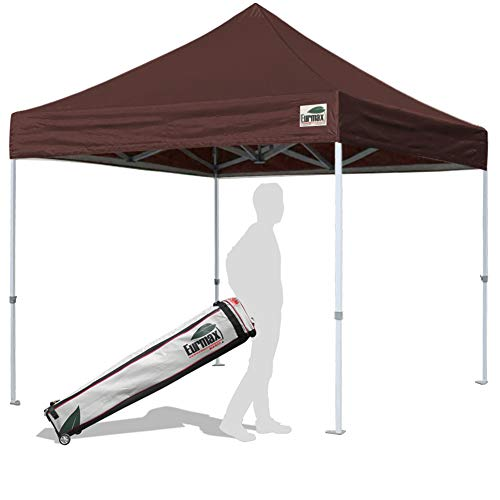 Eurmax 10'x10' Ez Pop Up Canopy Tent Commercial Instant Shelter with Heavy Duty Carry Bag (Brown)