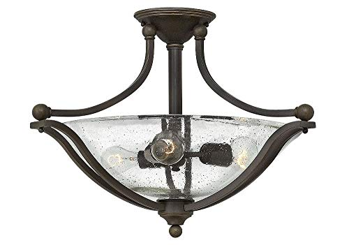 Hinkley 4669OB-CL Transitional Three Light Semi-Flush Mount from Bolla collection in Bronze/Darkfinish,