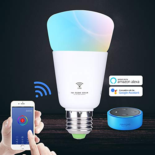 Smart LED Light Bulb, Wi-Fi LED Light Bulb, RGB Color Changing Light Bulbs with A19, Smartphone Controlled Daylight & Night Light, Works with Alexa and Google Assistant,No Hub Required
