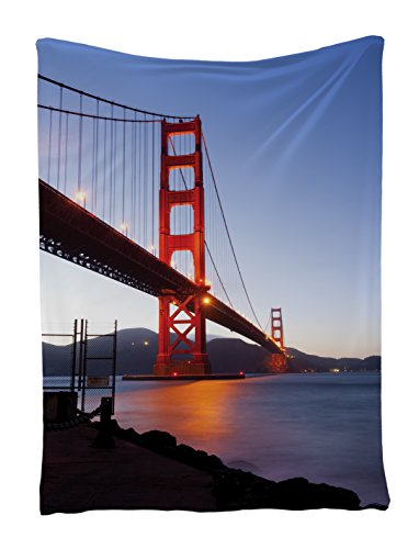 Wall Art Decor Golden Gate Bridge in San Francisco Tapestry Hanging Art Work for Home Walls Living Room Bedroom Dorm Decor One of a Kind Machine Washable with Silky Satin, Blue Red Navy Orange
