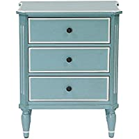 Heather Ann Creations Bombay Series Premium Wood Small 3 Drawer Classic Bedroom Storage Dresser, Aqua/White Trim