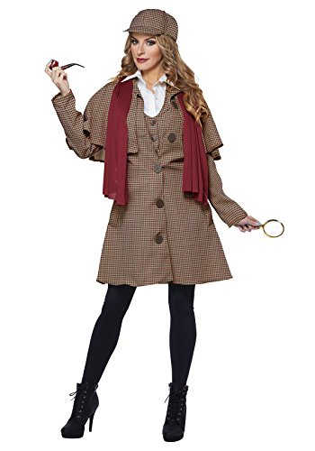 California Costumes Women's Lady Sherlock Adult Woman Costume, Tan/Red, (Female Detective Costumes)