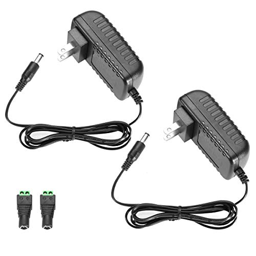 LE Power Adapter, 2A, AC 100-240V to DC 12V Transformer, 24W Switching Power Supply, US Plug Power Converter for LED Strip Light and More, Pack of 2