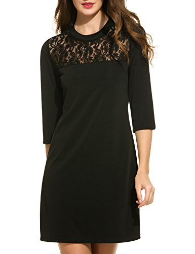 ACEVOG Womens Vintage V-Neck Lace 3/4 Sleeve Wrap Pleated A-line Swing Cocktail Party Dress