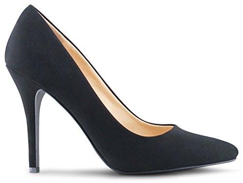 Womens Pointy Toe High Heels Stiletto Dress Pumps - (Black Nubuck) - 9