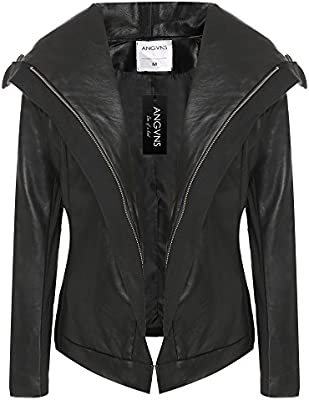 ANGVNS Casual Long Sleeve Synthetic Leather Zipper Coat Solid Jacket Outerwear