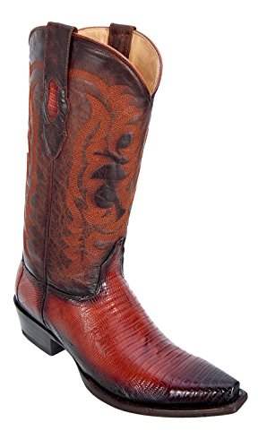 Men's Snip Toe Faded Cognac Genuine Leather Teju Lizard Skin Western Boots - Exotic Skin Boots