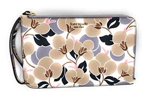 Kate Spade Large LZip Cameron Saffiano Leather Wristlet Breezy Floral Neutral