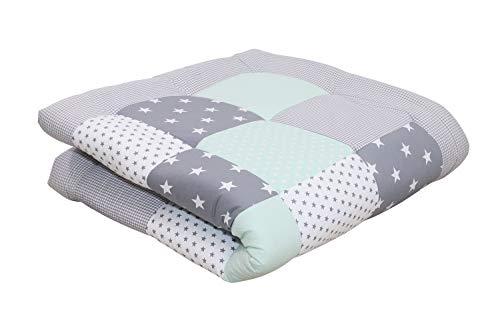 "Soft Padded Baby Play Mat by ULLENBOOM   Star/Polka Dot   Infant Activity Blanket   47"" x 47"" - Unisex Mint/Grey"