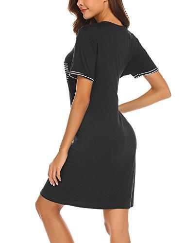 Camicia A xxl Vestaglia Donna Camicie Semplice Nero Notte Accappatoi Da Pigiami Scollo Comodo S Corta Camici U Manica Maxmoda H6AvwqpBTq