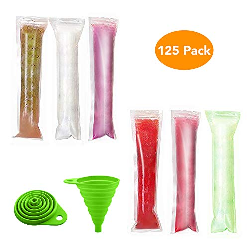 Lashary Popsicle Molds, 125 Disposable Ice Pop Molds, BPA Free Popsicle Maker Ice Candy Plastic Bags with Zip Seals, DIY Ice Pop Bags for Yogurt Ice Candy Otter Pops Freeze Pops, Comes with 1 Funnel]()