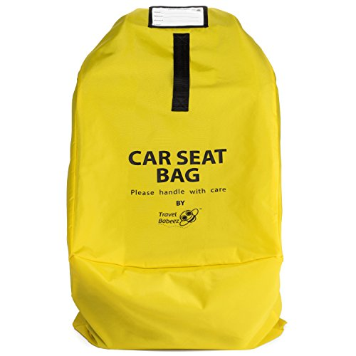 - Travel Babeez Durable Car Seat Travel Bag, Airport Gate Check Bag with Easy-to-Carry Backpack-Style Shoulder Straps & Zipper Closure | Ballistic Nylon (Lemon Yellow)