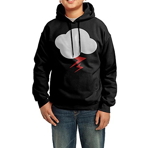 (Funny Black Hoodie Design Cloud Lightning Hooded Sweatshirt For Juvenile's)