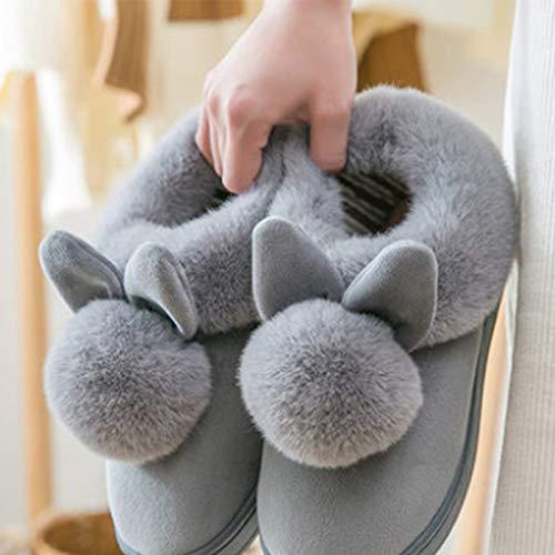Peluche Automne Hiver Scrox Modélisation Coton Taille Lapin Chaussons Accueil européenne 39 Paire en Femme Fourrure à du Slippers Pantoufles 1 38 Chaussures w4x4OE