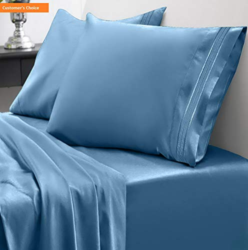 Mikash 1800 Thread Count Sheet Set - Soft Egyptian Quality Brushed Microfiber Hypoallergenic Sheets - Luxury Bedding Set with Flat Sheet, Fitted Sheet, 2 Pillow Cases, King, Denim | Style 84597073