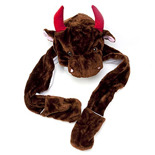 [Boy Girl Toddler Plush Animal Warm Hats Beanie with Paws, Long Mittens - Bull] (Bull Rider Costume Toddler)