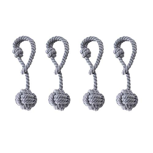 Anjee Hand Knitting Holdbacks for Blackout Curtains, Handmade Cotton Rope Tiebacks with Single Ball (2 Pairs, Grey)