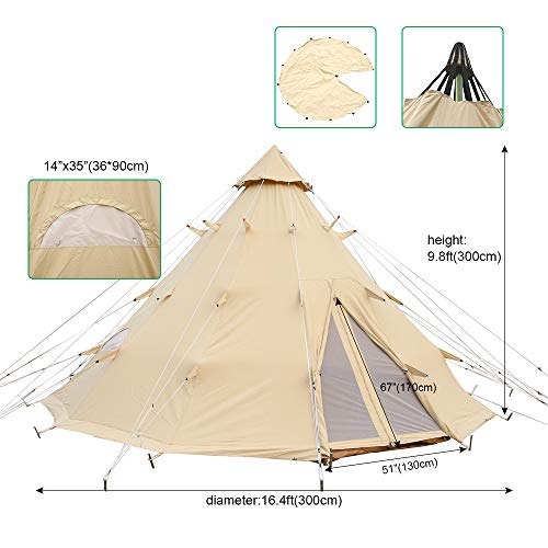 PlayDo 5M/16.4ft Waterproof Cotton Canvas Tipi Tent Yurt Tent with Single Pole for Camping Hiking Hunting
