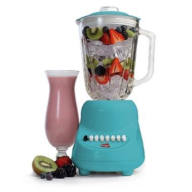 Elite Gourmet EBL-2000GBL Maxi-Matic 10-Speed Blender with 48-Ounce Glass Jar, 450-Watt, Blue