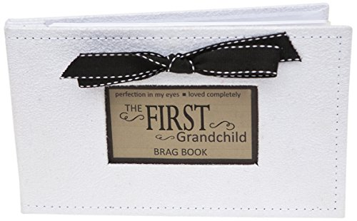 Grandparent Gifts 1st Grandchild Brag Book white faux-suede Holds 32 4x6 images ()