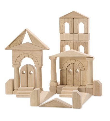 Jumbo Sized Wood Puzzles - HearthSong® Architectural Wooden Building Block Set for Kids - Skill Building -  Smooth Natural Wood Finish - Includes Storage Tray - 44 Pieces