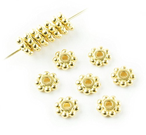 50pcs 14k Gold on Sterling Silver 4mm Small Round Daisy Flower Rondelle Spacer Metal Beads (Hole ~ 2mm) for Craft Making SS285