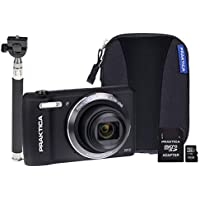 PRAKTICA Luxmedia Z212 Black Camera Kit inc16GB MicroSD Card, Case and Selfie Stick