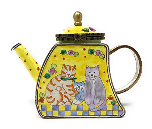 (Kelvin Chen Kitty Cat Family Enameled Miniature Teapot with Hinged Lid, 4.25 Inches Long)
