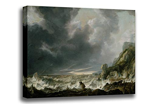 Canvas Print Wall Art - Ship in Distress Off A Rocky Coast - Vlieger, Simon de - Giclee Printed on Stretched Gallery Wrap - 14x10 inch