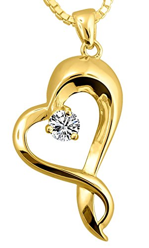 18k Gold Plate on Sterling Silver Embracing Heart Urn Pendant With 18k Gold Plated Chain, 18 Inch by Forever Urn Jewelry