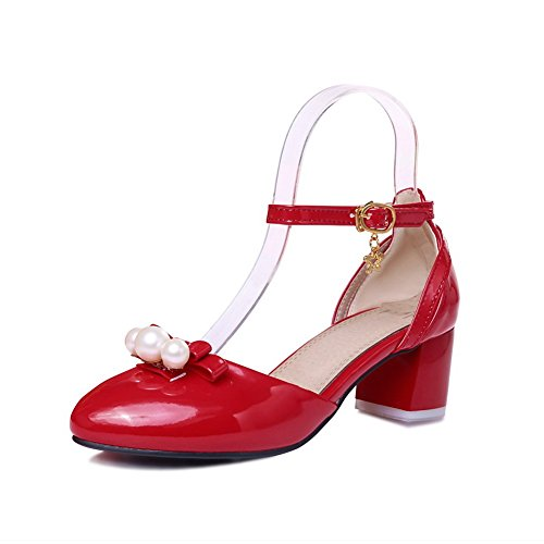 BalaMasa Womens Bead Comfort Patent Leather Sandals Red