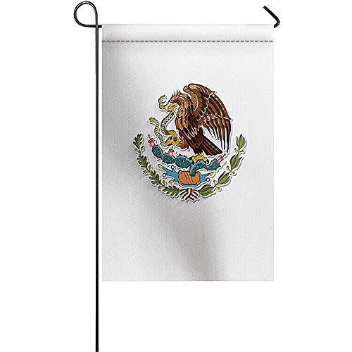 Beigehome Modern Polyester Double Sided Garden Flag 12 x 18 inch Yard Flag for Party Yard Home Outdoor Decor - Flag of Mexico National Emblem -