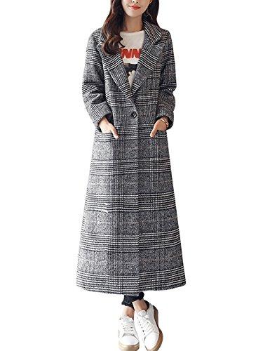(Tanming Women's Notch Lapel Long Wool Blend Coat Outerwear (Large, Black))