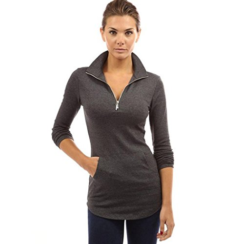 Women Zip Pullover Cnlinkco Long Sleeve Stretchy Workout Pocket Tunic Top Shirt, Dark Grey, Medium