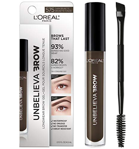 L#039Oreal Paris UnbelievaBrow Tinted Brow Makeup Longwear Waterproof Brow Gel Sweat Resistant Transfer Proof Fills and Thickens Brows Enhanced up to 48 Hours Dark Brunette 015 fl oz
