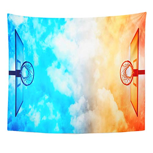 Target Goal Shooting Championship - Semtomn Tapestry Blue Net Basketball Hoop on Court Under Dramatic Sky Home Decor Wall Hanging for Living Room Bedroom Dorm 60x80 Inches