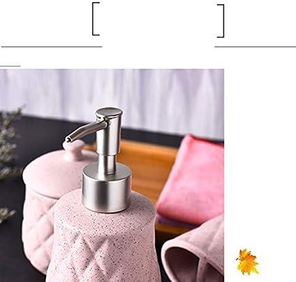 HUIJ Set Accessorio Bagno Include 1 portaspazzolini 1 Dispenser Sapone 1 Contenitore con Coperchio 1 portasapone e 1 Bicchiere Ceramica Perfetto per Bagno padronale o degli Ospiti Set 5pcs