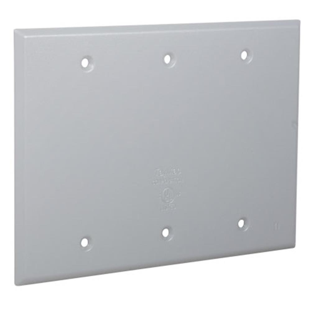 Gray Hubbell-Bell MX3050S Weatherproof Metallic Device Cover with 125-in-1 Configurations and Three Gang Vertical