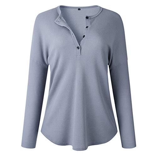 - Women's Waffle Knit Tunic Tops Loose Long Sleeve Button Up V Neck Henley Shirts Knit Cardigan Sweater Grey