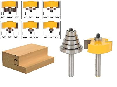 Yonico 14705q Rabbet Router Bit with 6 Bearings Set -1/2-Inch 1/4-Inch Shank from Precision Bits.com