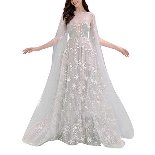 Women's Elegant Evening Dress  Long Prom Gown Bride Dress  Star Print Tulle Long Tail Wedding Dresses (L, White)