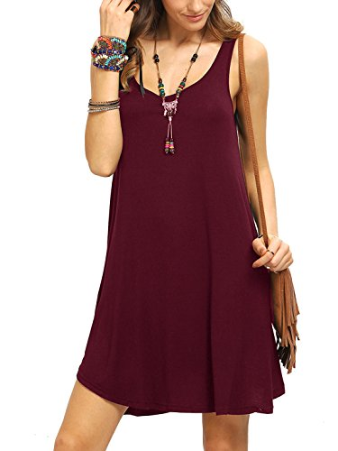 ROMWE Women's Sleeveless Summer Swing Tank Sundress Burgundy XL