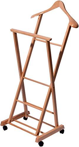 dobar 29741FSC Rollbarer Herrendiener aus Holz, Kleider Diener klappbar, Buche lackiert, 33 x 41 x 104 cm, hellbraun