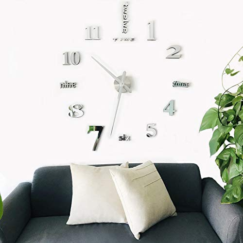 - CoZroom Large Silver 3D Frameless Wall Clock Stickers DIY Wall Decoration for Living Room Bedroom